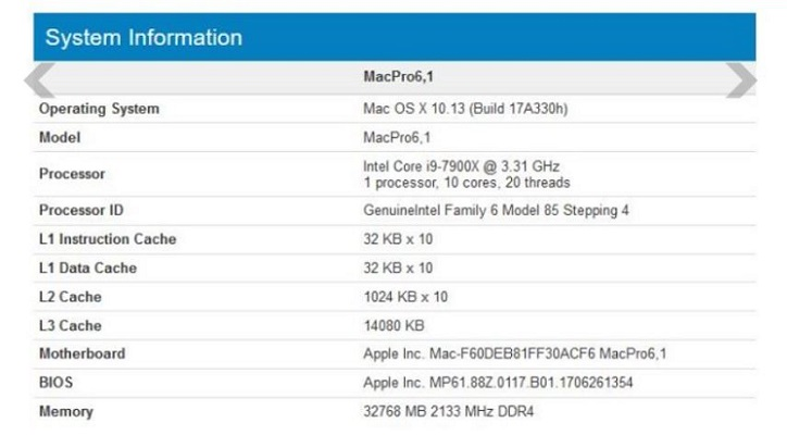 A Top Geek Site has Discovered Benchmarks for a Mac Pro