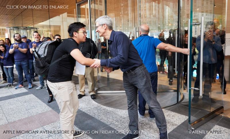1 COVER - apple michigan ave waterfront tim cook greeting customer