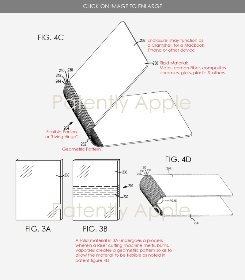 2 SINGLE SOLID MATERIAL FORMS A SINGLE SHAPE SUCH AS A CLAMSHELL OF A MACBOOK  PATENTLY APPLE OCT 2017