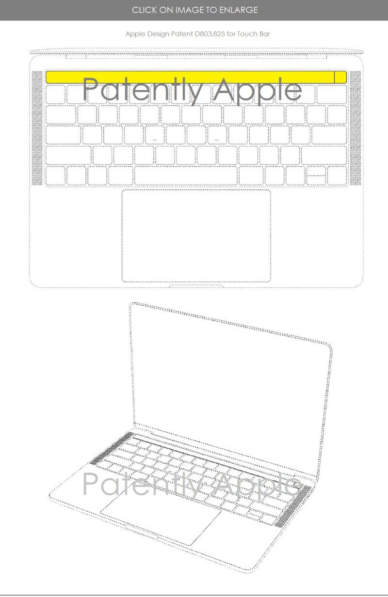 4 DESIGN PATENT FOR MACBOOK PRO TOUCH BAR