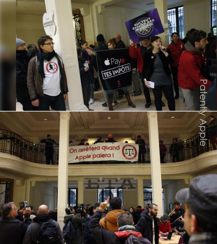 3 X 2017 PROTEST IN APPLE STORES IN FRANCE OVER TAXES