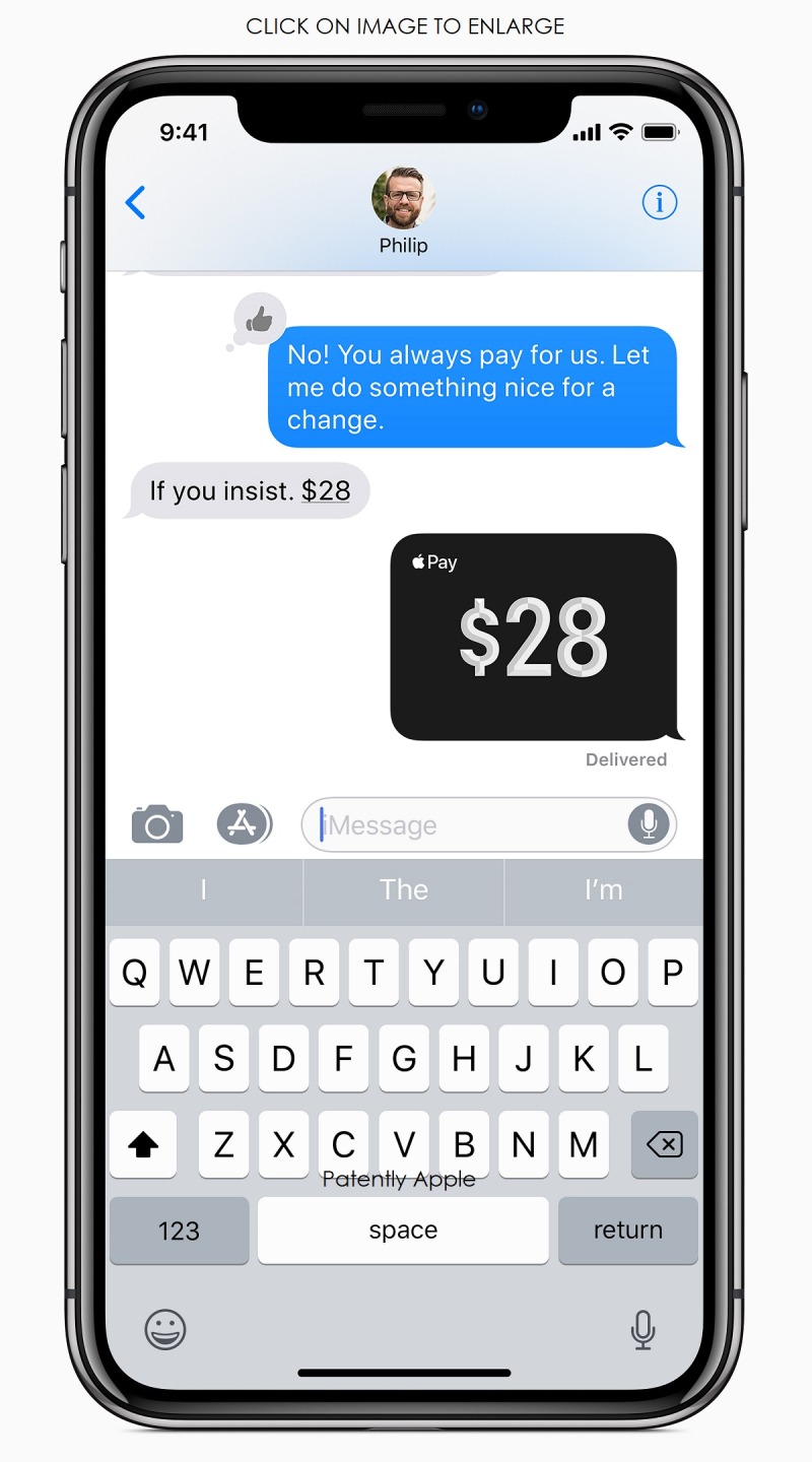 2 iPhone X Messages Apple Pay screen