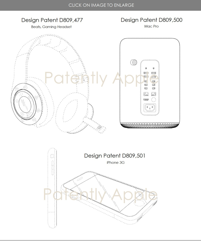 4 X design patents for gaming headset  Mac Pro  iPhone 3G