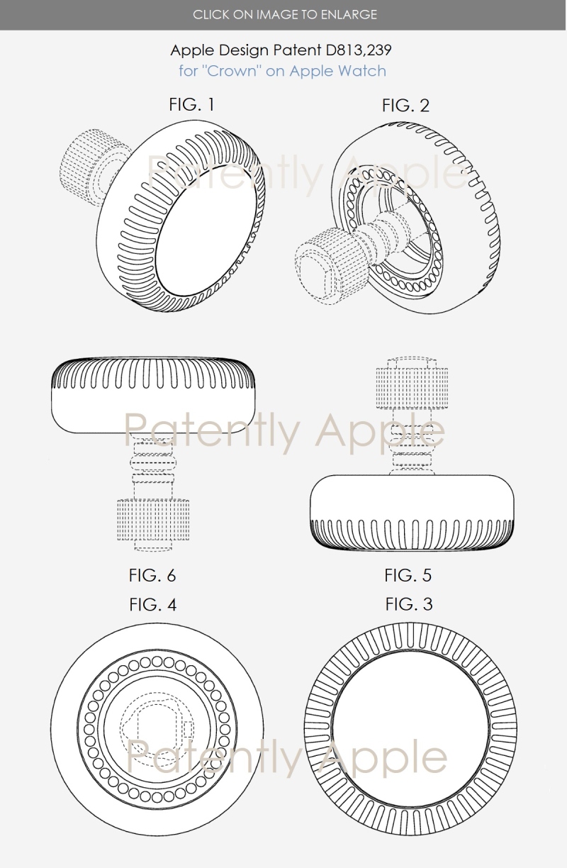 4 design patent for crown  apple watch 2018
