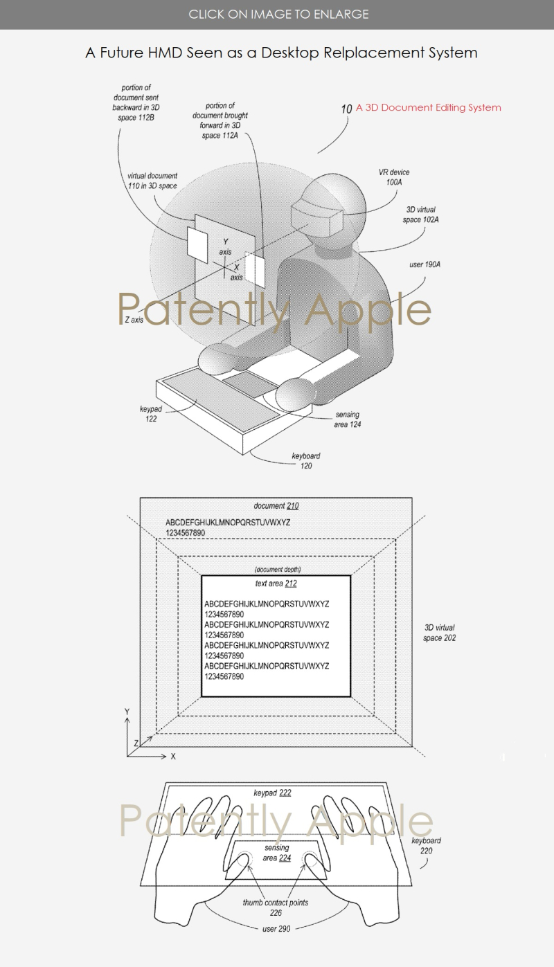 2 APPLE HMD PATENT FOR DESKTOP REPLACEMENT WITH 3D EDITING