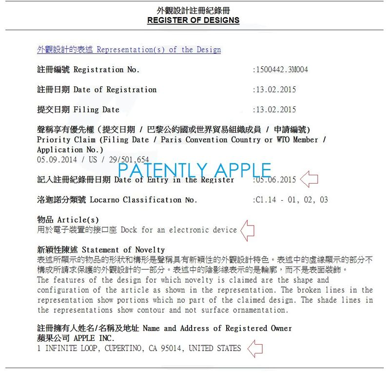 7AF 55 OVERVIEW OF 15 APPLE DESIGN PATENTS IN HONG KONG