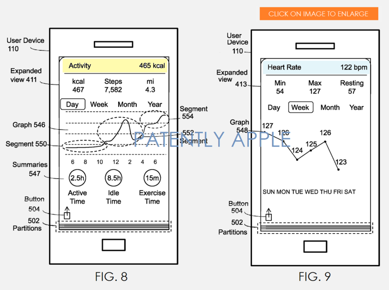 8AF - WELLNESS PATENT FIGS. 8 AND 9 - USER INTERFACES - PATENTLY APPLE