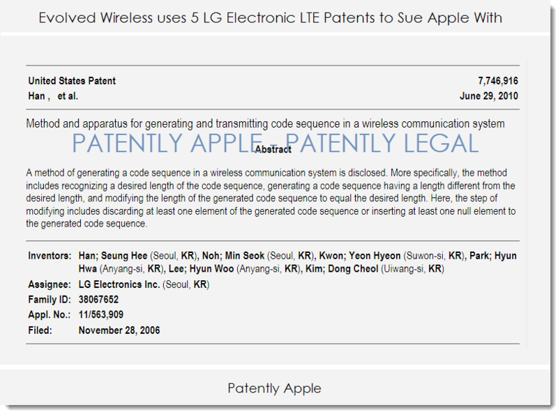 2af evolved wireless lg patents - infringement case against apple