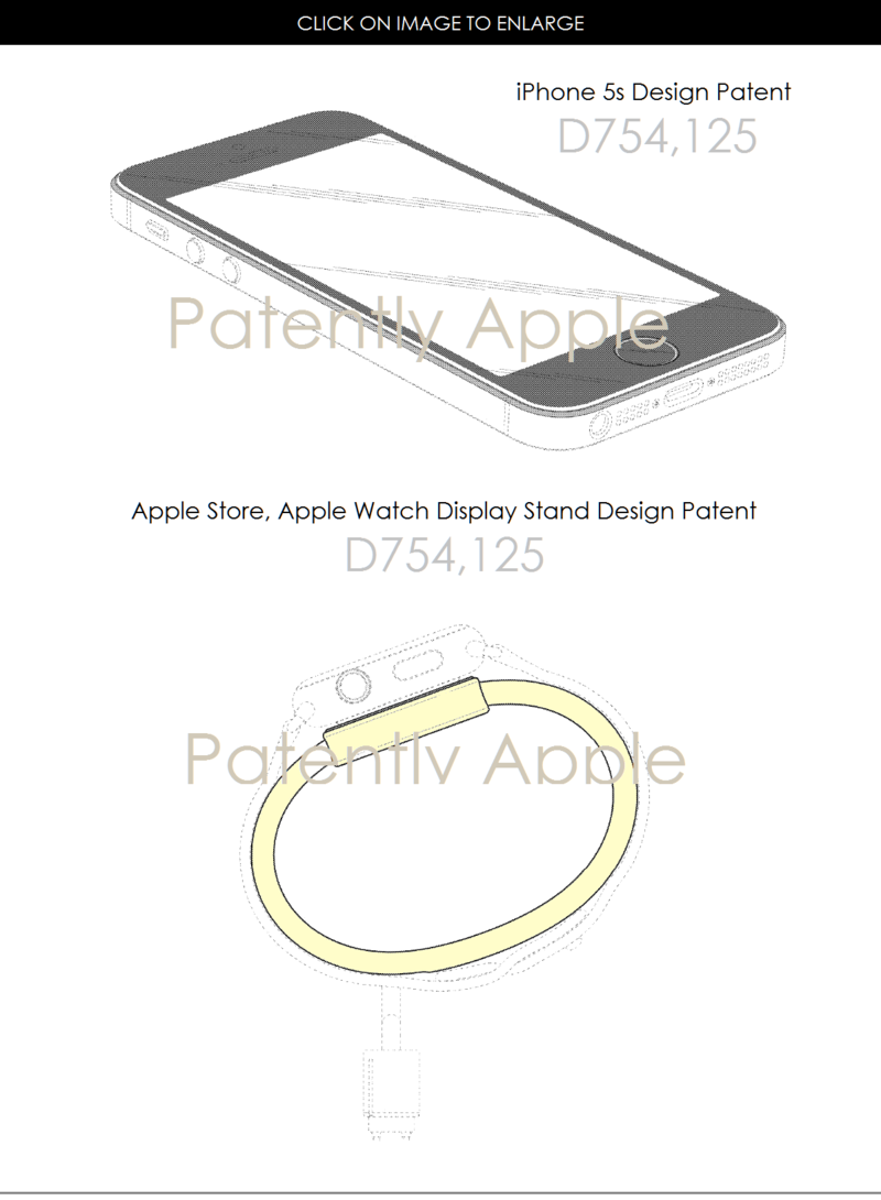 4AF 55 DESIGN PATENTS APPLE, IPHONE 5S + RETAIL DISPLAY STAND FOR APPLE WATCH