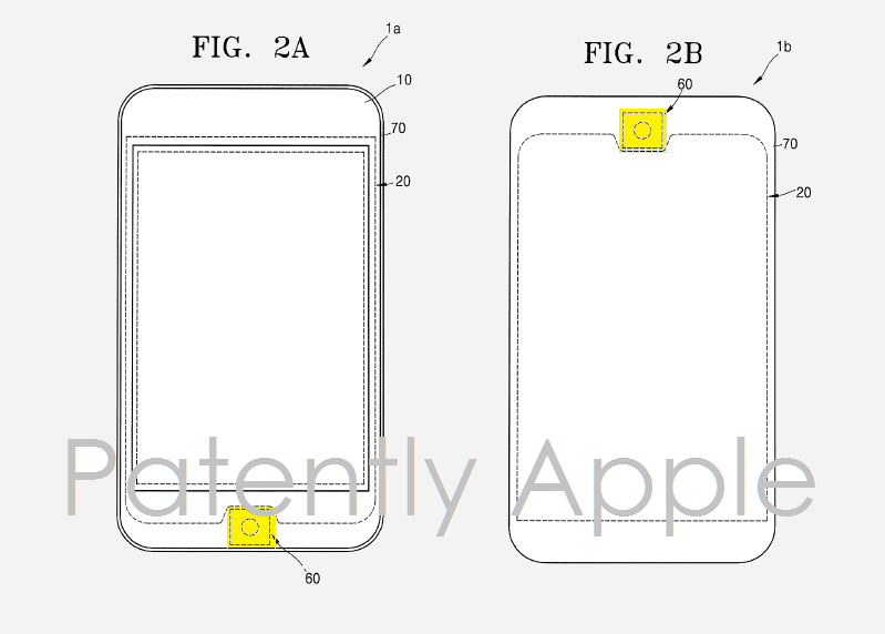 5AF PATENTLY APPLE - SAMSUNG DIFFERENT HOME BUTTON LAYOUT