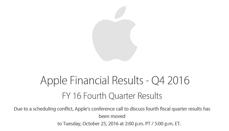 2af 88 apple FY 16 q4 announcement of date change