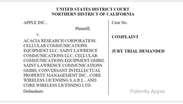 Apple Files a Major Antitrust Case against Acacia Research Corporation Pointing to a Conspiracy with Nokia Corporation