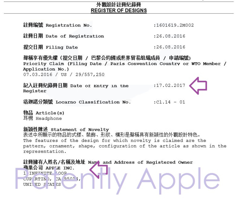 7af x99 one design patent granted, registered in Hong Kong for Beats headsets