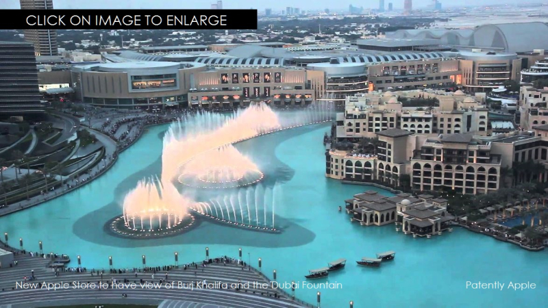 2X APPLE STORE WITH VIEW OF DUBAI FOUNTAIN
