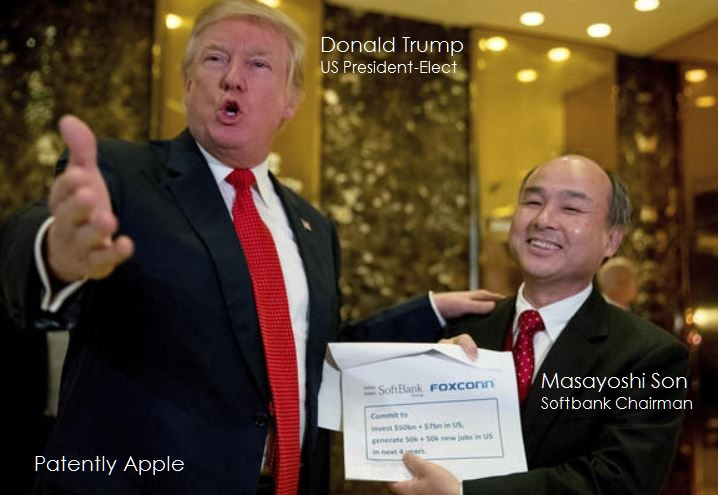 2af 99 then President-Elect Trump with Softbank's Chairman holding up proposal with Foxconn noted