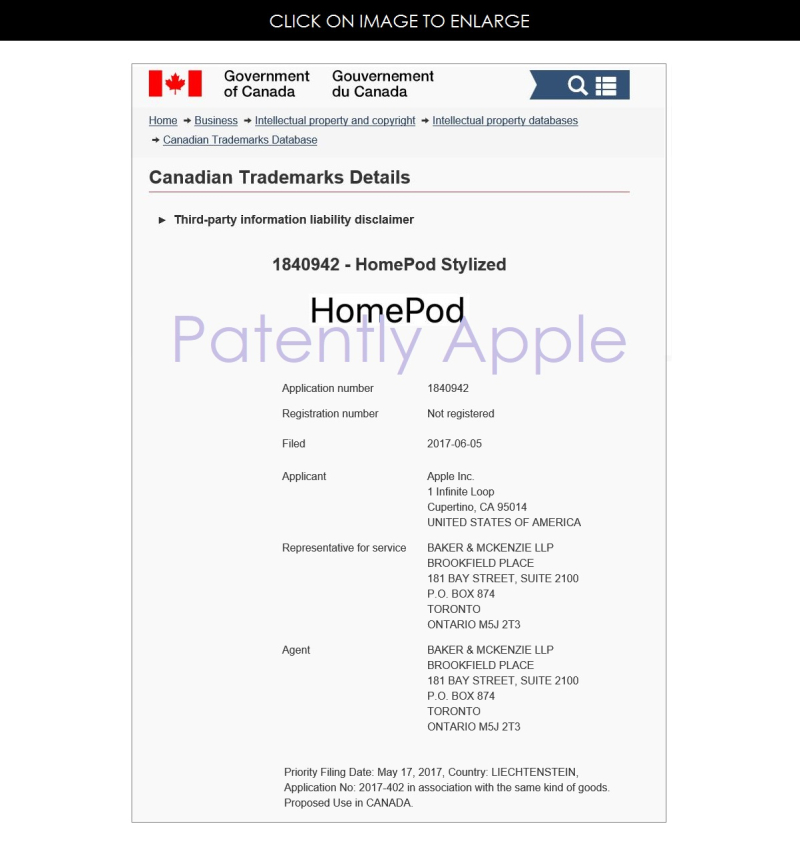2AFX 99 CANADIAN TM FILING APPLE  HOMEPOD