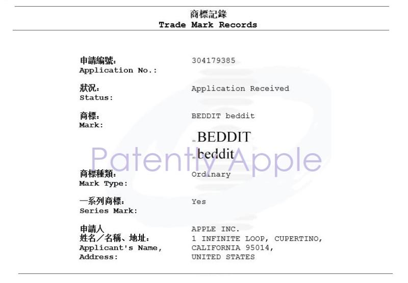 2AF X HONG KONG TM APPLICATION FOR BEDDIT