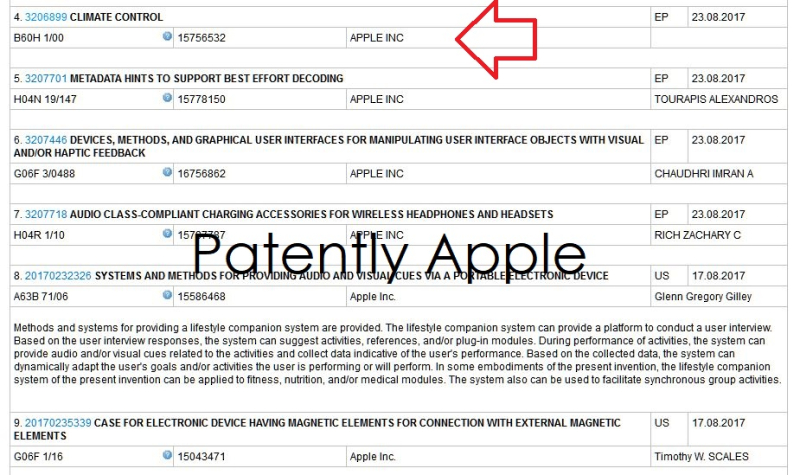 7AFX 999  apple climate control wipo entry