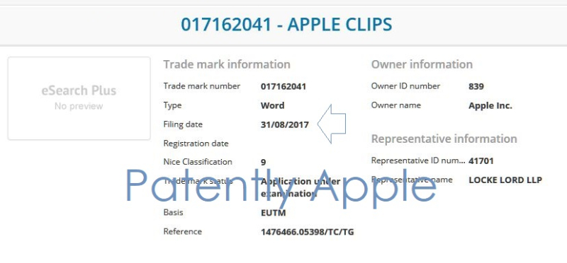 4AF APPLE CLIPS TM  EURO FILING