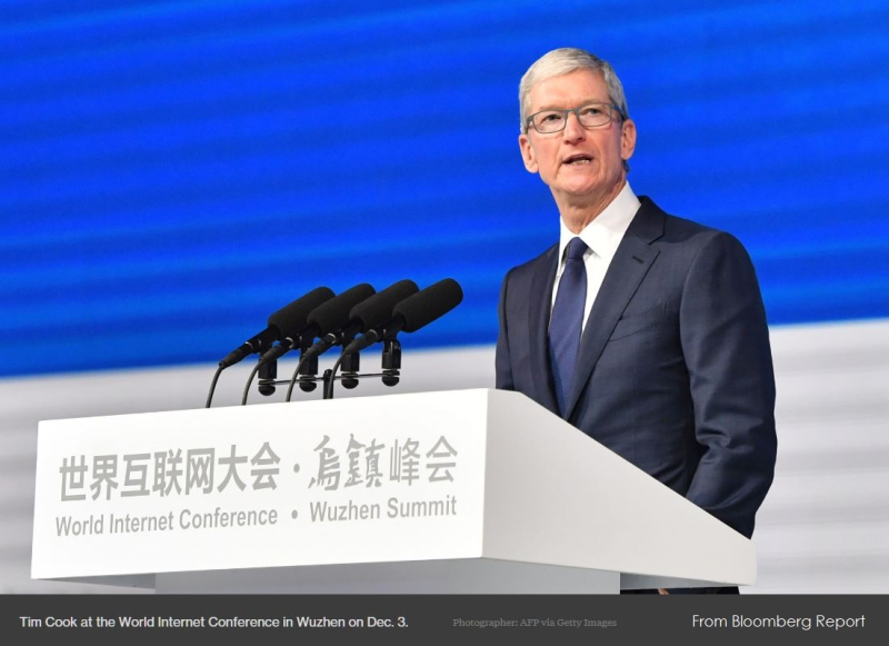 1 X tim cook Wuzhen summit  world internet conference 2017 Dec 3