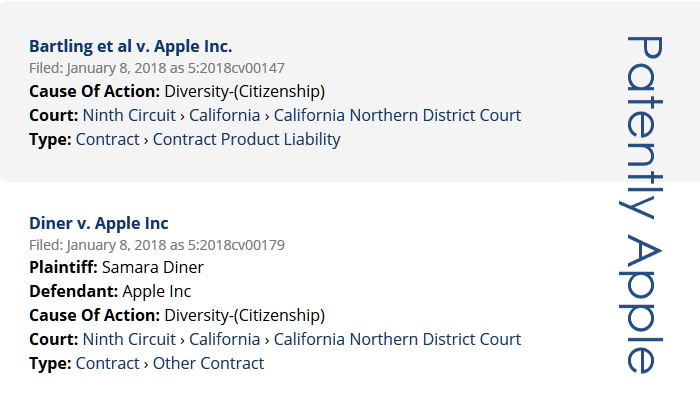 3  X - other class actions filed against Apple Jan 8  2018