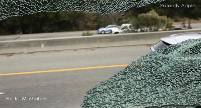 2 X shattered bus window  apple bus