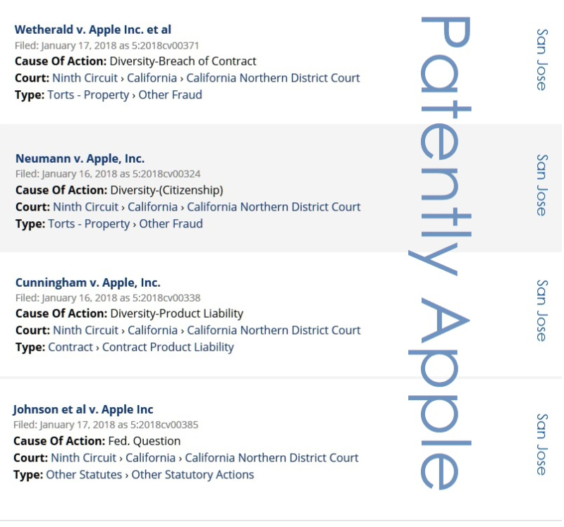 2 X - 5 new class actions filed against Apple