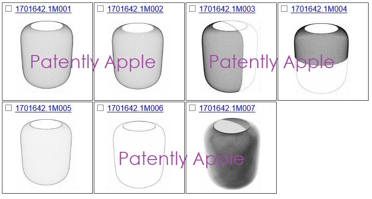 2 X 7 apple design patents for HomePod in Hong Kong 2018