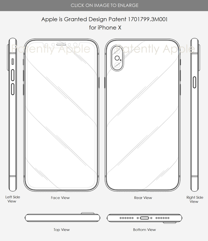 2 Apple Granted design patent 3M001 iphone x in hong kong