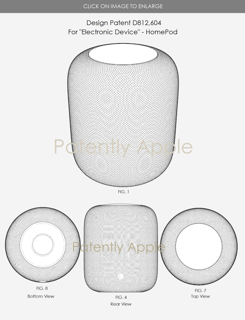 3 apple design patent D812 604