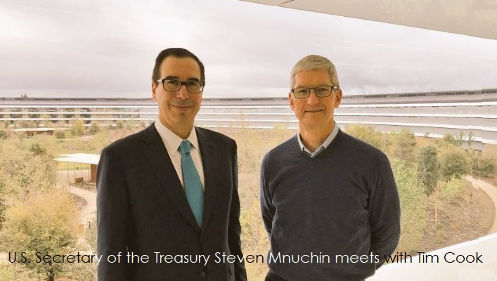 1 X Cover Steven Mnuchin with Apple's CEO at Apple Park