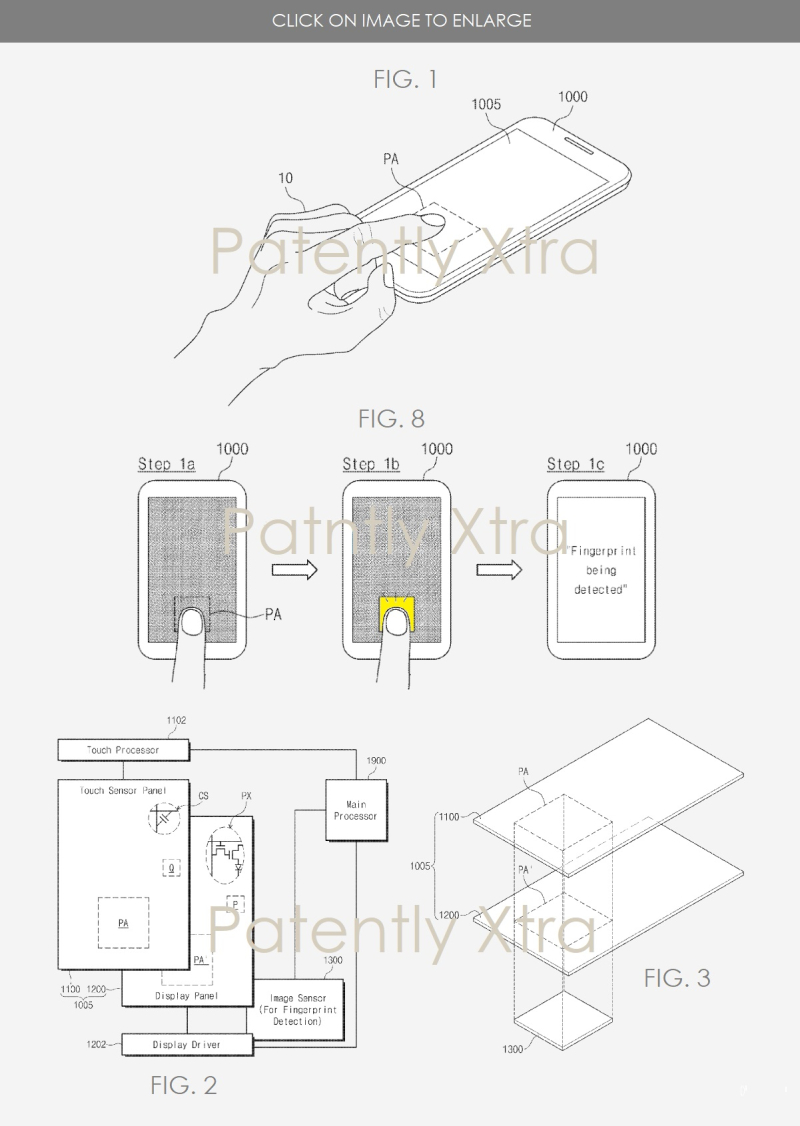2 Samsung in-display patent figures from March 2018 patent filing in US