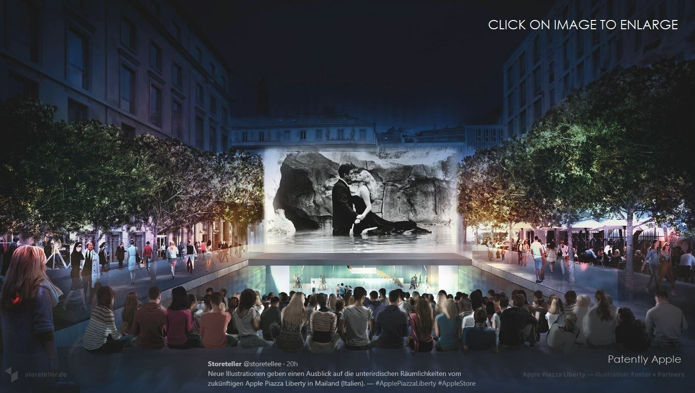 photo image Updates to the Milan Apple Store Construction site reveal the Amphitheater's Screen and more