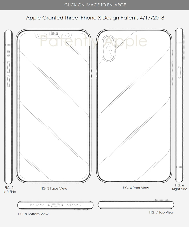 6 - Apple iPhone X granted 3 US design patents 4-17-2018