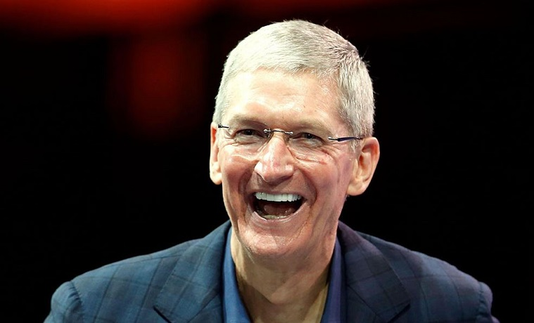 1 x Apple's CEO Tim Cook laughing