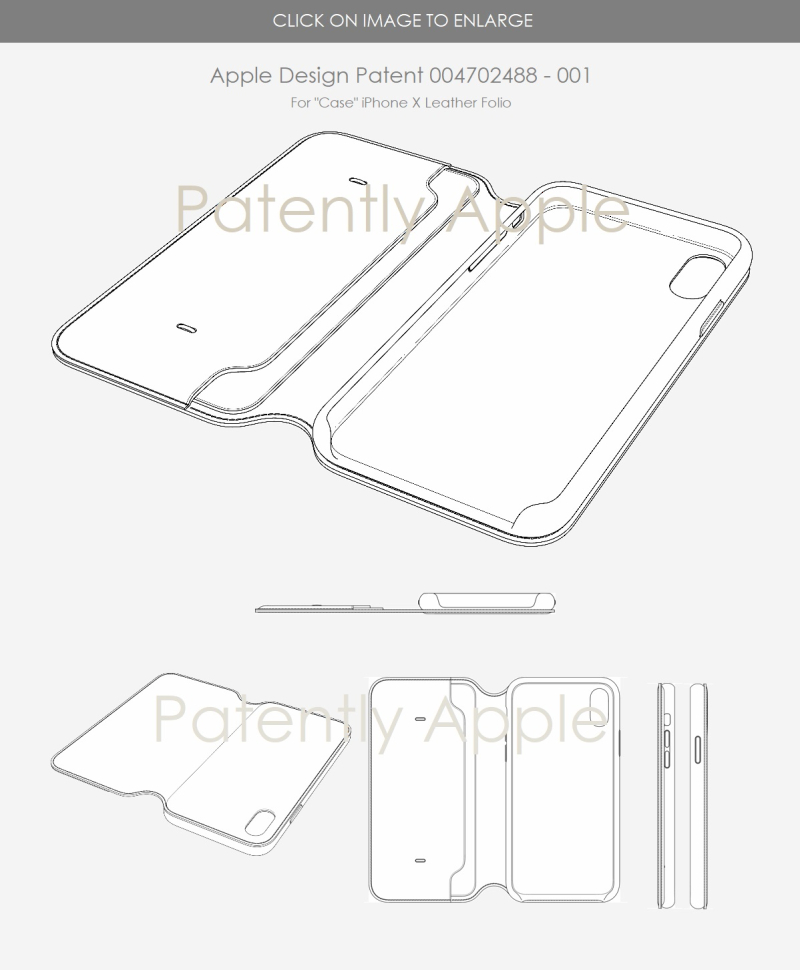 10 EU design Patent for case  iPhone X leather folia case - patently apple report May 2018
