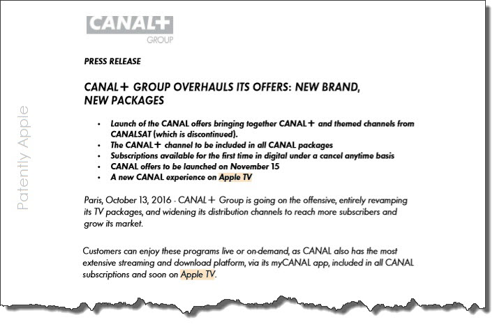 2  X Canal+ 2016 Press Release first mentioning working with Apple TV