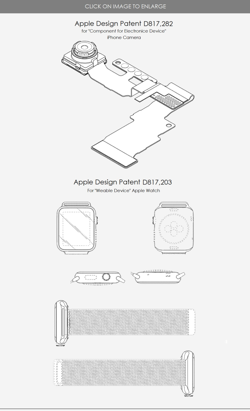5x  Design patents  Apple  iPhone single camera and apple watch  may 2018  Patently Apple report