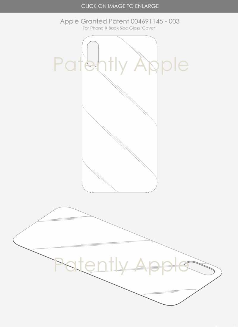 8 EU granted patent for iPhone X back glass cover - patently apple report May 2018