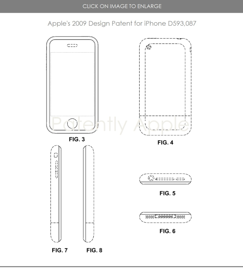 2 iPhone Design Patent D593 087 filed in 2007 granted in 2009