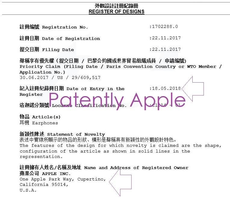 3 design patent hong kong granted to Apple Friday May 19