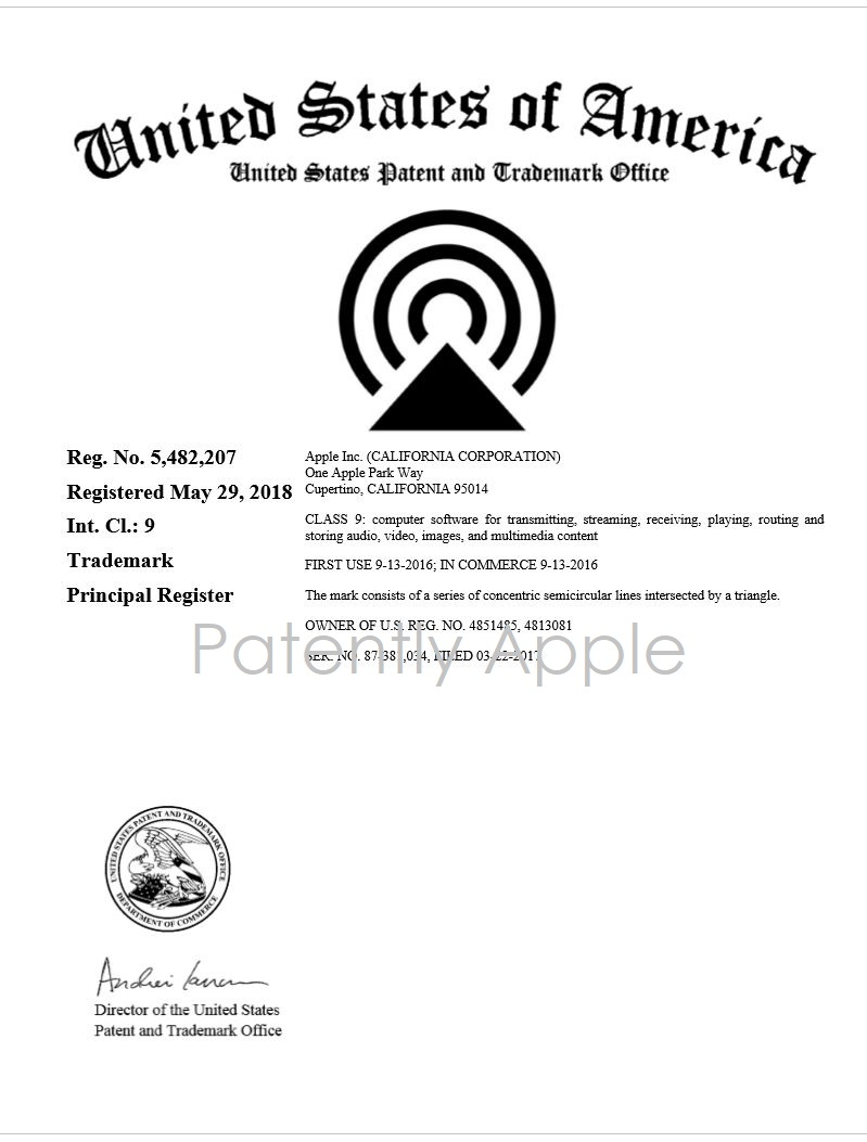 3 X -- USPTO RTM CERTIFICATE FOR AIRPLAY 2