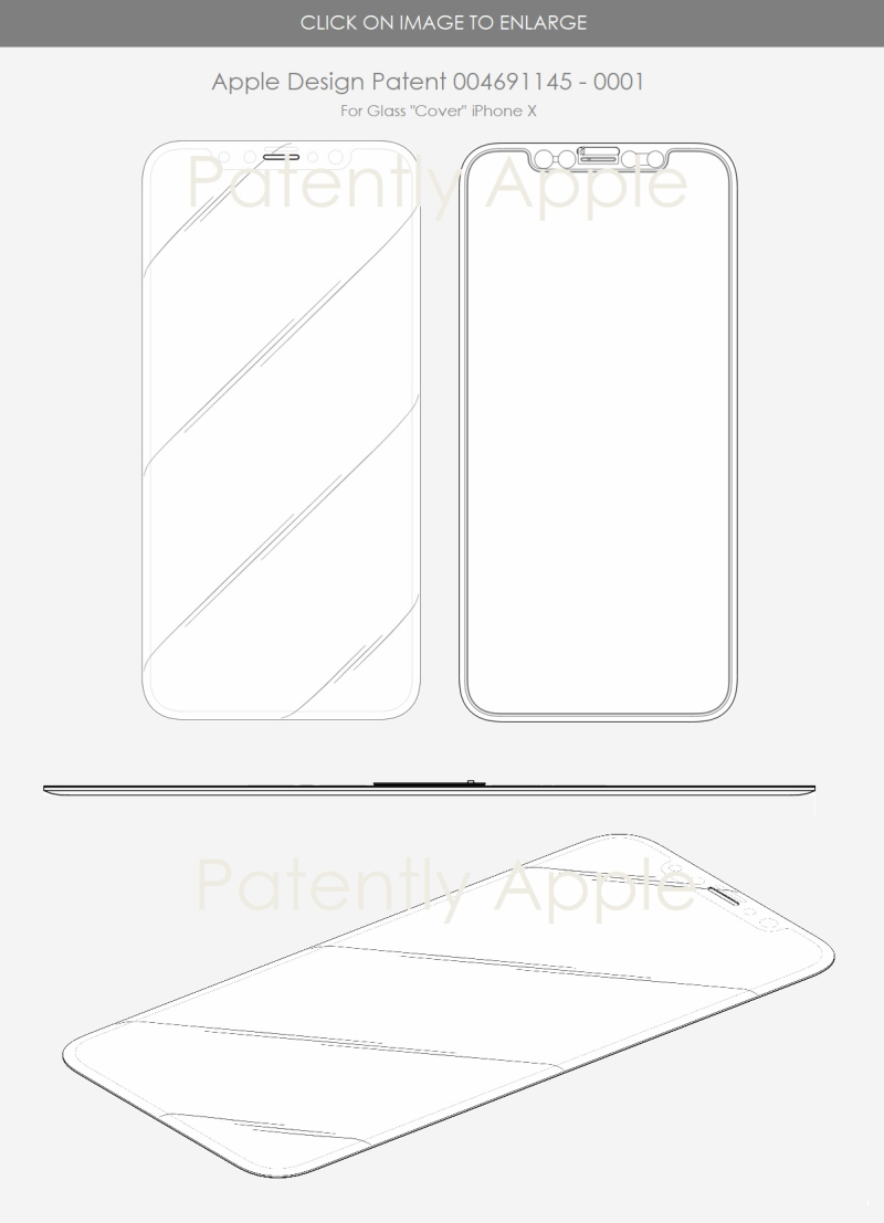 6 EU design patent iPhone X glass cover - patently Apple report may 2018