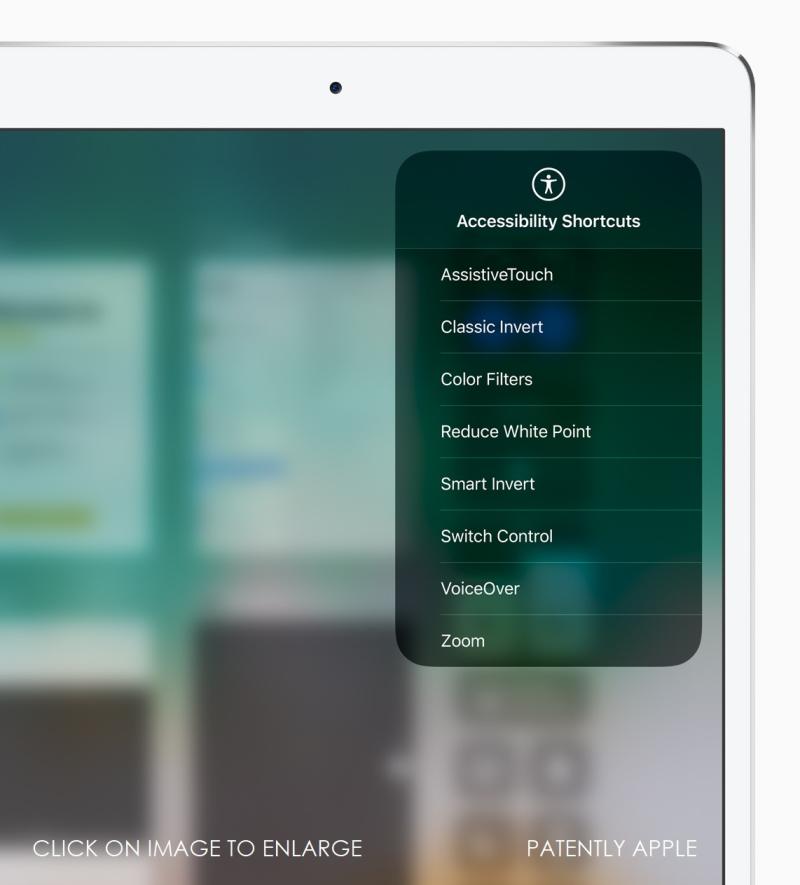 2 iPad Pro Accessibility Shortcuts screen