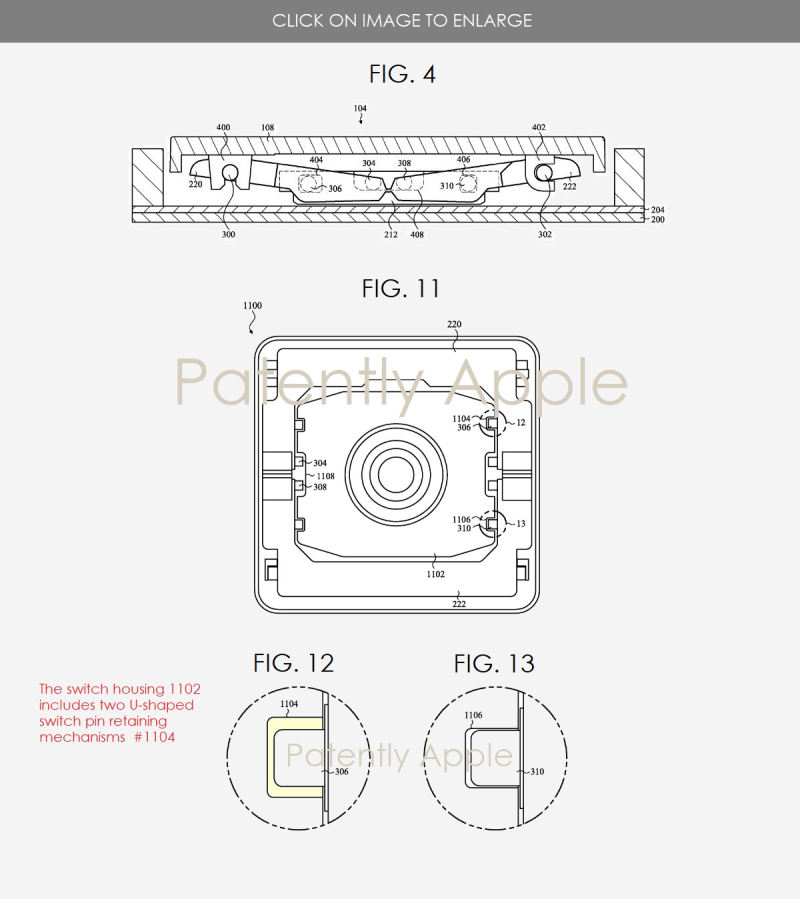 2 apple patent figs 4  11  12 & 13 cover butterfly hinge with switch pin
