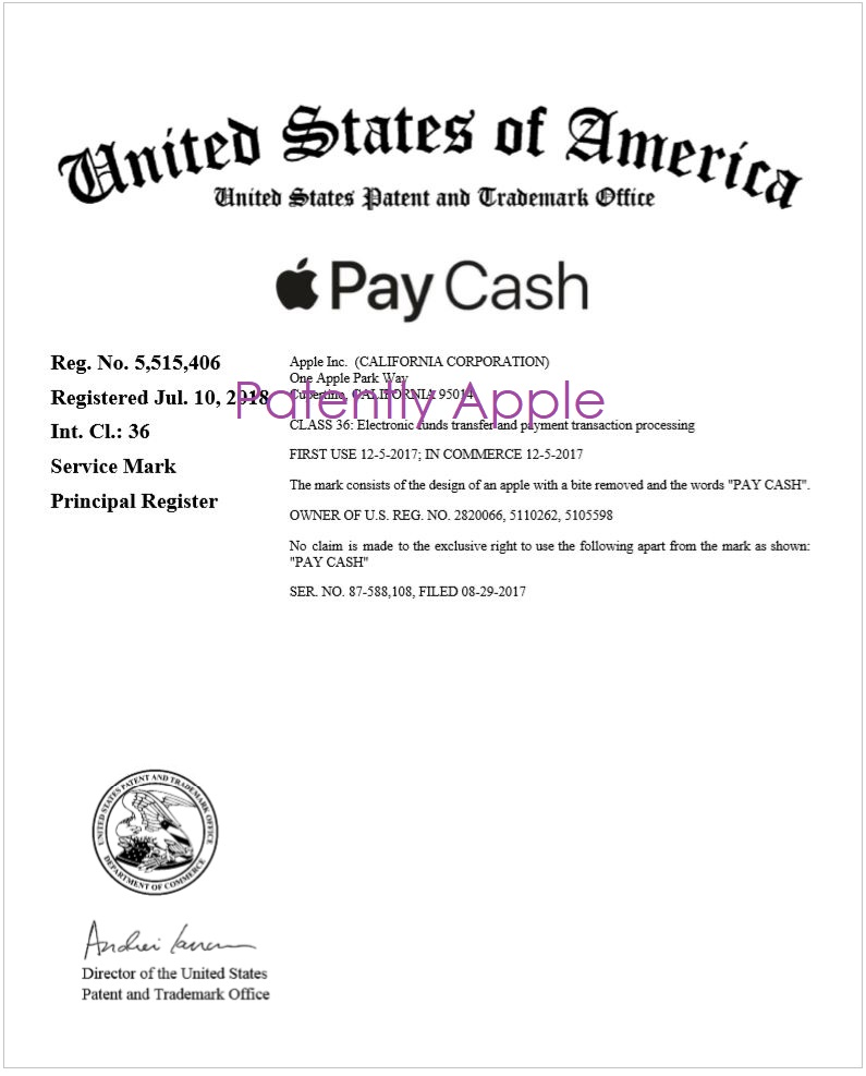 2 x RTM certificate to Apple for figurative apple pay cash