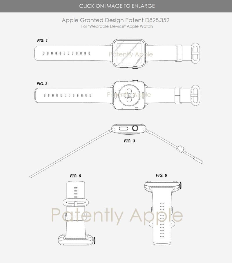 4 Apple Watch design patent D828  352 Sept 11  2018 Patently Apple report