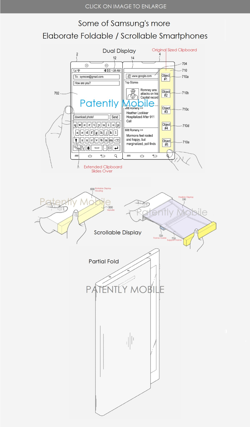 3 samsung patent figure examples of more elaborate form factors