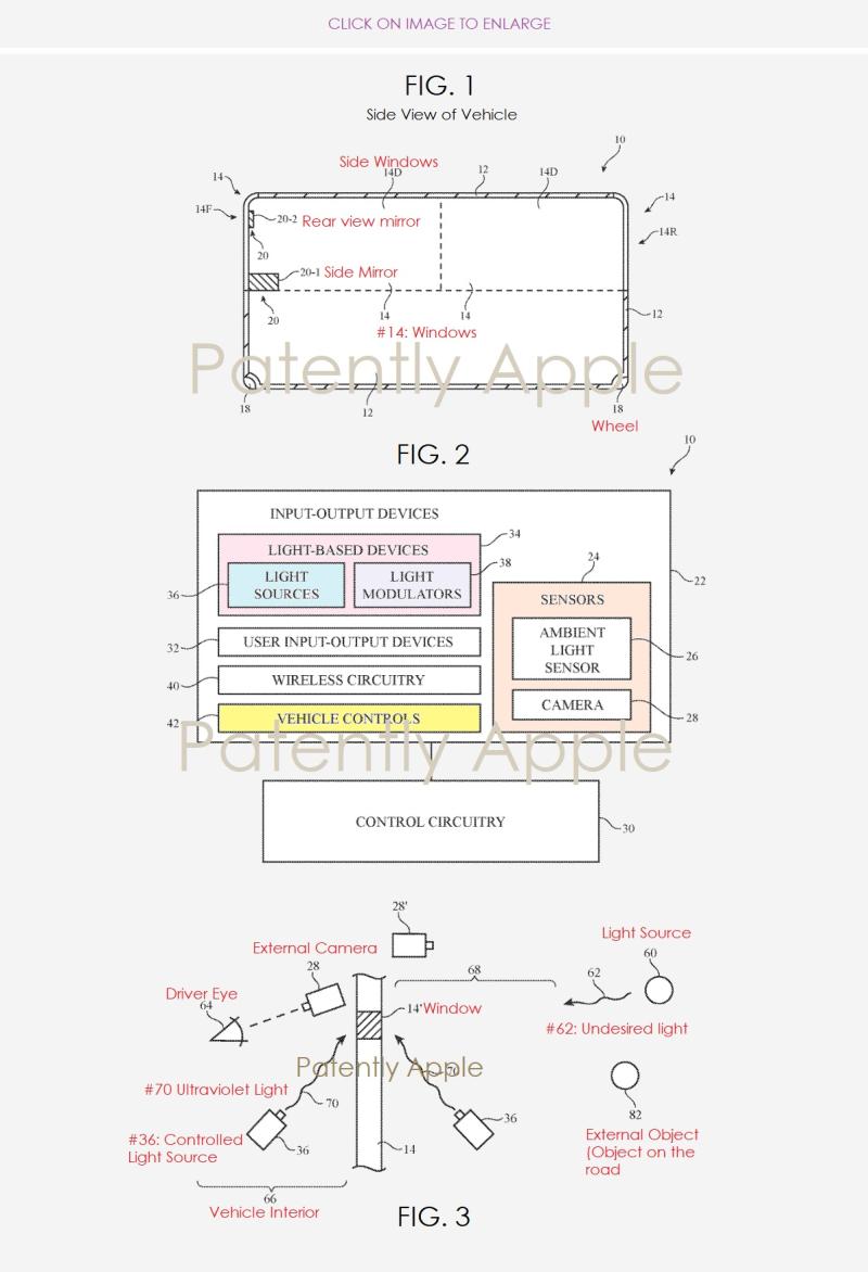 2 Apple Project Titan anti-glare system patent figs 1-3