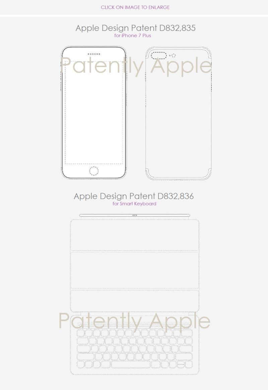 4 Apple Design patents nov 6  2018 iphone 7 plus + smart keyboard